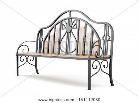 Garden Forged Bench Isolated On A White Background. 3D Rendering