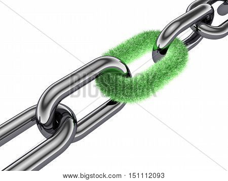 3d chain grass link , nature protection , 3d illustration