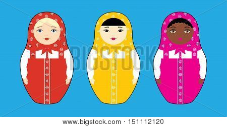 Vector illustration of three Russian nesting dolls Matryoshka of different races: Asian African and Caucasian. Isolated on a light blue background.