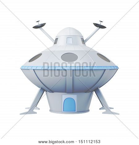 Ufo Isolated On White Background. 3D Rendering