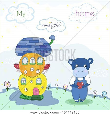 Fairytale colorful cute houses and hippo in cartoon style. Magic land. Vector hand drawn illustration. Printable template
