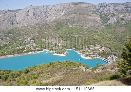 Views of dam of Reservoir of El Castell de Guadalest Alicante Spain