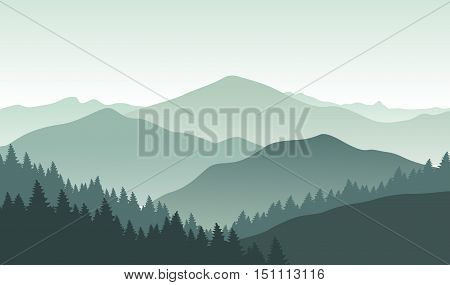 Grey foggy mountains. Vector illustration. Nature landscape.