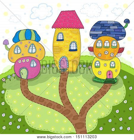 Fairytale colorful cute houses in cartoon style - cute postcard. Vector hand drawn illustration. Printable template