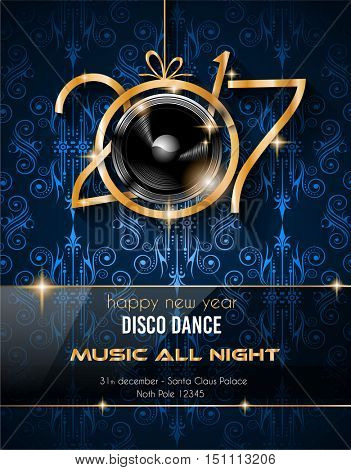 2017 Disco Night New Year Background for your Seasonal Flyers and Greetings Card or Christmas themed invitations.