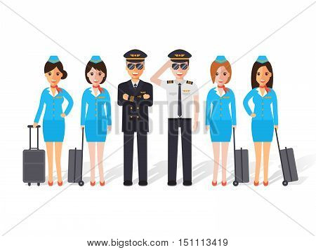 Group of pilots and flight attendants air hostess. Flat design people characters.