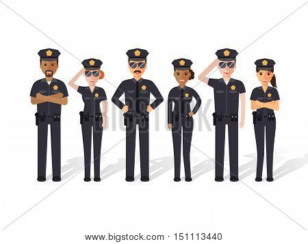 Group of police officers man and woman cops. Flat design people characters.