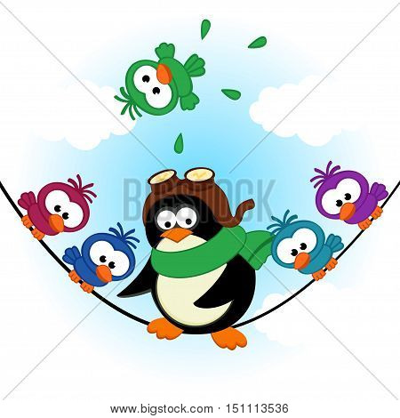 penguin birds on electric wire - vector  illustration, eps