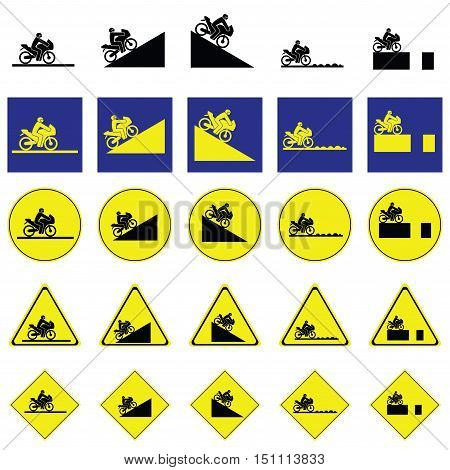 Warning sign of man riding motorbike in the various ways include slope up and down, rough way and road with deep hole