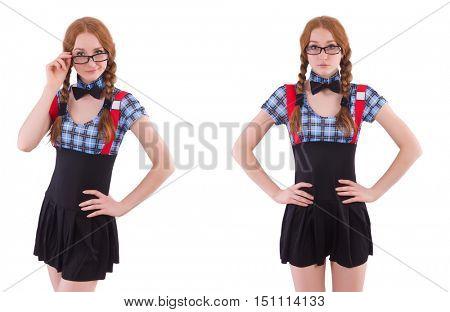 Schoolgirl isolated on the white