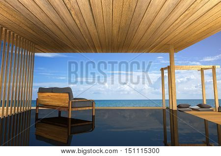 3D rendering : illustration of modern wooden sofa interior decoration at balcony outdoor wooden room style with Sundeck on Sea view for vacation and summer / 3d render outdoor living,best living concept