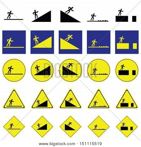 Warning sign of man skating the skateboard on the various ways include slope up and down, rough way and road with deep hole