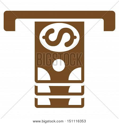 Banknotes Withdraw icon. Glyph style is flat iconic symbol with rounded angles, brown color, white background.