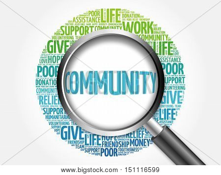 Community Word Cloud With Magnifying Glass