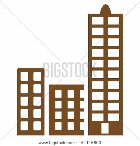 City icon. Glyph style is flat iconic symbol with rounded angles, brown color, white background.