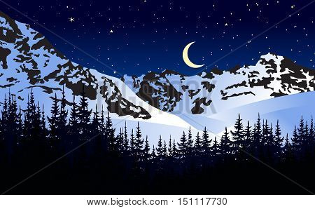 Night mountain landscape with new moon and stars. Vector illustration. Snowy mountains in a bright starry night.