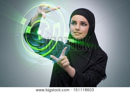 Muslim arab woman pressing virtual buttons