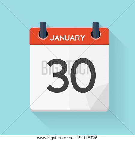 January 30 Calendar Flat Daily Icon. Vector Illustration Emblem. Element of Design for Decoration Office Documents and Applications. Logo of Day, Date, Time, Month and Holiday. EPS10