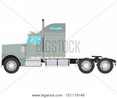 Gray old truck-tractor isolated on white background. Vector illustration