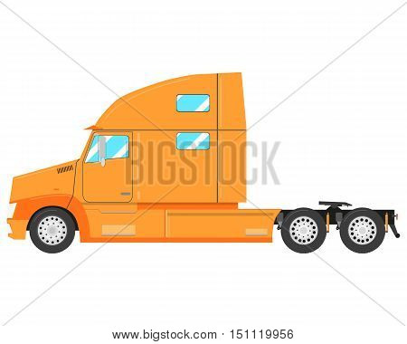 Yellow modern truck-tractor isolated on white background. Vector illustration