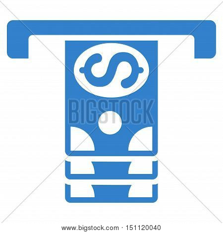 Banknotes Withdraw icon. Glyph style is flat iconic symbol with rounded angles, cobalt color, white background.