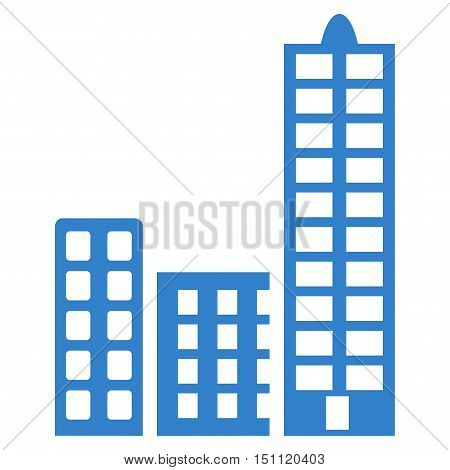 City icon. Glyph style is flat iconic symbol with rounded angles, cobalt color, white background.