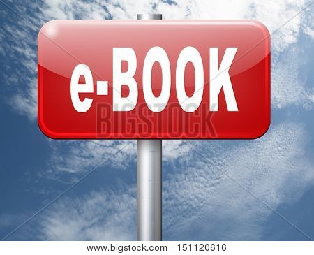 Ebook downloading and read online electronic book or e-book download, road sign billboard. 3D illustration