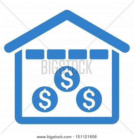 Money Depository icon. Glyph style is flat iconic symbol with rounded angles, cobalt color, white background.