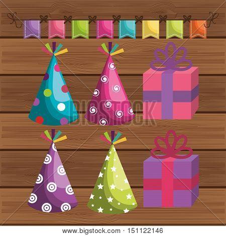 birthday hat party celebration vector illustration design