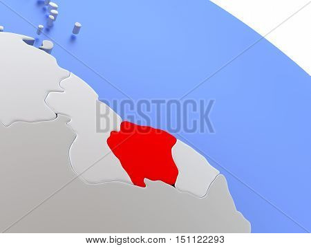 Suriname On World Map