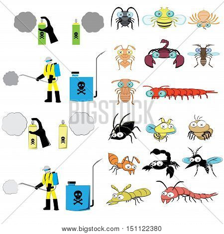 pest control graphic include sprayer, cockroach, fly, spider, ant, scorpion, mosquitoes, termite, centipede