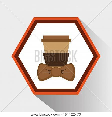 Coffee mug and bowtie icon. Hipster style fashion and vintage theme. Colorful design. Vector illustration