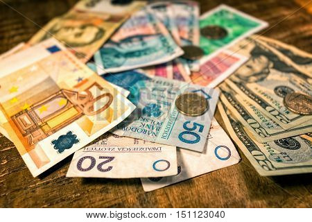 Background from paper money of the different countries
