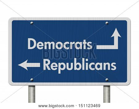 Difference between Democrats and Republicans Blue Road Sign with text Democrats and Republicans isolated over white 3D Illustration