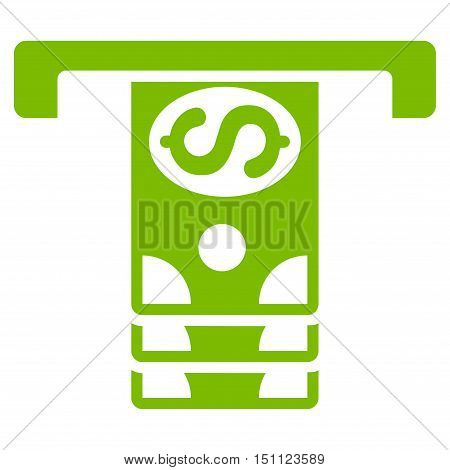 Banknotes Withdraw icon. Glyph style is flat iconic symbol with rounded angles eco green color white background.