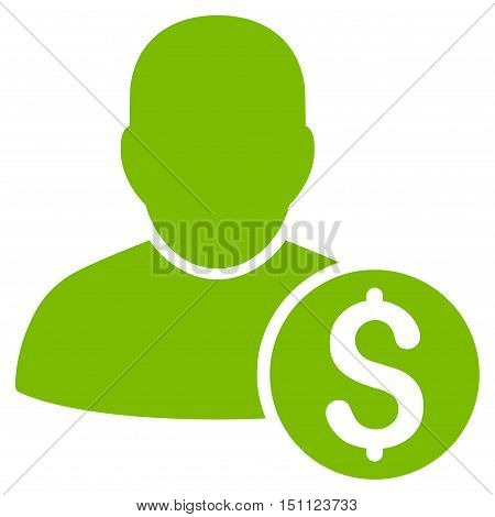 Businessman icon. Glyph style is flat iconic symbol with rounded angles eco green color white background.