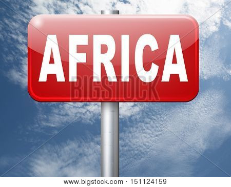 Africa continent tourism vacation and travel, road sign billboard. 3D illustration