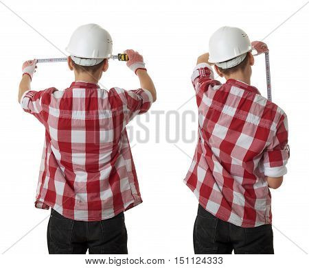 Set of cute teenager boy in red checkered shirt, building helmet and measuring tape standing from back over white isolated background, half body, constructing concept