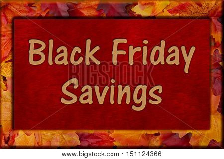 Black Friday Shopping Savings Autumn Leaves Frame with plush red background with text Black Friday Savings 3D Illustration