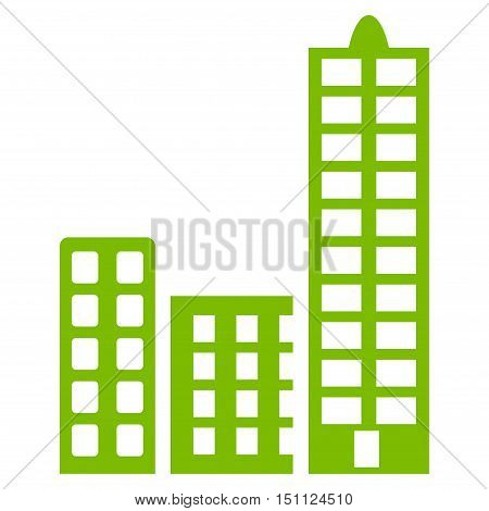 City icon. Glyph style is flat iconic symbol with rounded angles, eco green color, white background.