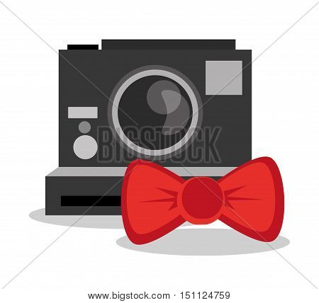 Camera and bowtie icon. Hipster style fashion and vintage theme. Colorful design. Vector illustration