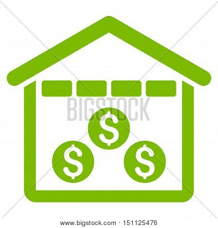 Money Depository icon. Glyph style is flat iconic symbol with rounded angles, eco green color, white background.