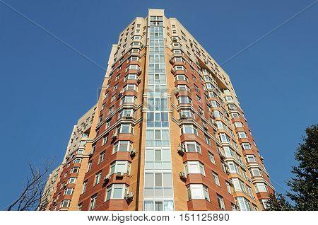 Odessa, Ukraine - August 28, 2016: Corner of modern high-rise residential building