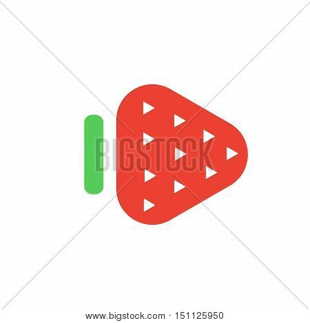 Strawberry. Fruit logo. Button Play for the player with adult content. Sex symbol in a flat style. Vector illustration