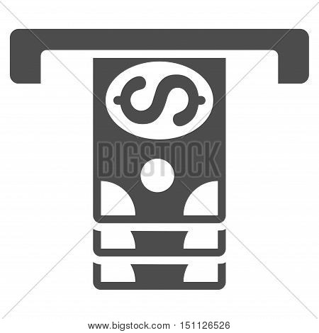 Banknotes Withdraw icon. Glyph style is flat iconic symbol with rounded angles, gray color, white background.