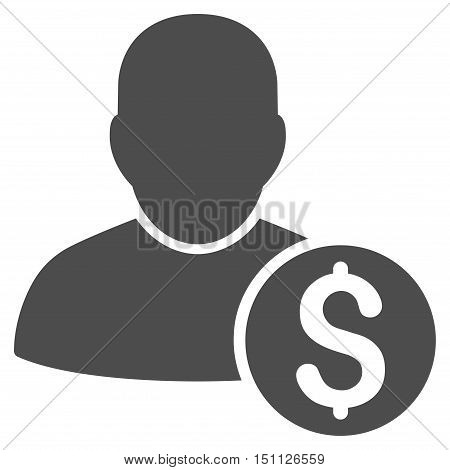 Businessman icon. Glyph style is flat iconic symbol with rounded angles, gray color, white background.
