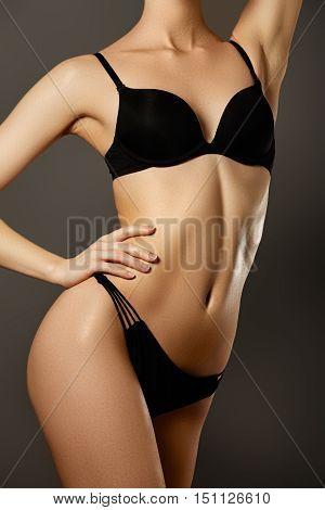Beautiful Woman Show Her Tan Slim Body. Beautiful Slim Woman Bod