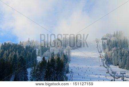 Chair lift in the Carpathian mountains, Ukraine