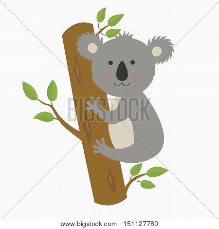 Vector illustration of smiling cute cartoon koala. illustration for the children
