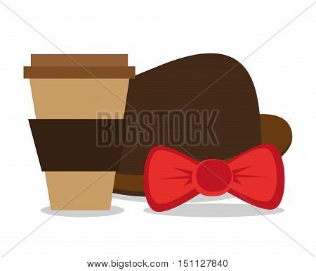 Coffee mug hat and bowtie icon. Hipster style fashion and vintage theme. Colorful design. Vector illustration